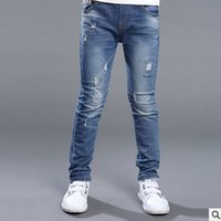 Wholesale Children s Clothing Jeans New Spring Autumn Pants Fashion Boy Trousers in the Big Children Blue Hole Jeans Size6 ly140