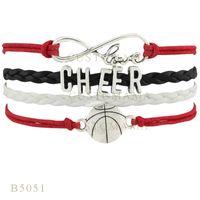 basketball cheers - Custom Infinity Love Christmas Gifts Team Bracelet Sport Red Black White Men Leather Custom Bracelet Cheer Basketball Charm Bracelets