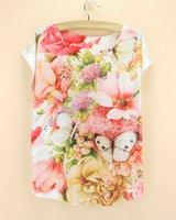 Vente en gros-Plus robe de taille femmes t-shirt nouvelles été 2015 fleurs de conception de mode imprimé top t-shirts fille prix de gros