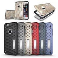 2 en 1 NetGrid Kickstand agujero de plástico duro TPU parachoques marco caso para el iPhone 6 6S más Samsung S7 s6 borde plsu nota 5 Z5 Premium Nexus 5