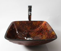 basin drainer - Square crimson antique flower pattern of tempered glass basin and supporting member basins