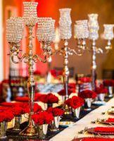 Wholesale 3ft tall Crystal Tulip Silver Flower Blossom Home decor arm Candelabras Tea Light Votive Candle Holder LLFA