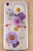 al por mayor caucho de la flor caso del iphone-Las flores verdaderas de las nuevas de las flores de la caja del teléfono celular caen las plantas suaves de la cáscara del caucho de silicón del polvo de destello se secaron la caja del teléfono de las flores para el iphone 6 6plus 7
