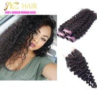 7A onda profunda brasileña 3 paquetes con el pelo del cierre empaqueta con el pelo de la Virgen brasileña del encierro del cordón con el pelo humano barato del encierro