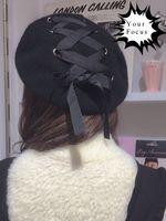 adult magazines - lolita kawaii punk rok harajuku vintage magazine style ring ribbon lacing bow wool hat women black berets