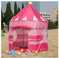 Wholesale Fedex DHL Free Children Beach Tent Prince And Princess Palace Castle Children Playing Indoor Outdoor Toy Tent Cartoon Game House Z730 M