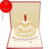 Nuevo llega la torta de cumpleaños del festival con las velas La celebración 3D carda los regalos de las tarjetas de felicitación para los muchachos y las muchachas DHL libera la nave