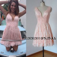 Wholesale Sexy Real Picture Graduation Dresses Deep V Neck Lace Appliques Beading Crystal A Line Pink Lace Homecoming Dresses Arabic