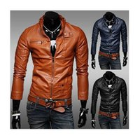 amp stand - Winter Men s Fashion Leather amp Suede Zipper Slim Men s Motorcycle Jacket