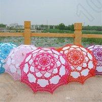 Wholesale Lace Wooden handle Sun Umbrella Embroidery Lace Parasol Cotton Umbrella Wedding Decoration Bride Accessory colors OOA1021
