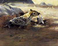 artist canvas sizes - Hyena by German Artist Friedrich Wilhelm Kuhnert HD Print Animal Art Painting On High Quality Canvas Multi size vinta