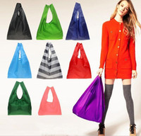 Wholesale Square Pocket Shopping Bags Muti colors Available Eco friendly Reusable Folding Handle Nylon Bag JF