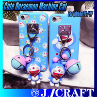 bell machines - Cute Doraemon Machine Cat Bell Keychain Soft TPU Phone Cover Frosted Phone Case For iphone G iphone P