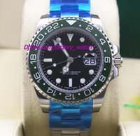 Wholesale Luxury Brand NEW GMT Green Bezel II Automatic Stainless Steel Ceramic mm LN Mechanical Men Watches Top Quality
