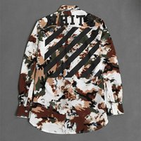Wholesale New Style OFF WHITE Men Casual Shirts Boys Casual Camo Shirts Loose Man Long Sleeve Camo Causal Shirt Men s Clothing Shirts Tops