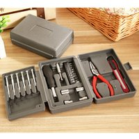 Wholesale Carbon steel plastic box Tools Kit Packed Square Tool Box PC home hardware combination toolbox MM