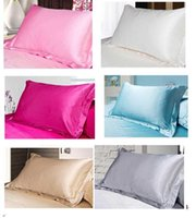 Wholesale 2017 cm Multiple Colors Silk Pillow Cases Double Face Envelope Silk Pillowcase High Quality Charmeuse Silk Satin Pillow Cover