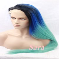 straight blue ombre green wigs heat resistant synthetic lace front wig for black women high quality dark roots multi colored wig - Colored Wig
