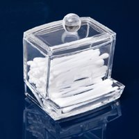 Wholesale New Creative Clear Acrylic Q Tip Storage Holder Box Transparent Cotton Swabs Stick Cosmetic Makeup Organizer Case