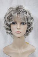 2017 nouvelle mode de la mode de la mode gris clair et foncé racine des femmes bouclés court perruque ondulée pour chaque perruque jour