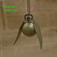 ball fob - hot fashion retro antique black wing golden gold snitch ball quartz pocket watch fob necklace women arabic number hour