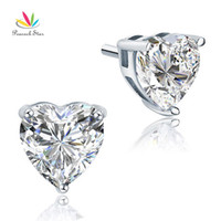 Wholesale Peacock Star Bridal Carat Heart Created Diamond Stud Bridesmaid Earrings Sterling Silver Jewelry CFE8084