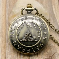 acrylic history - Never Forget The History Retro Bronze Pocket Watch With Chain Best Gift To United States Veterans Young People