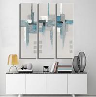 al por mayor pintura de la lona gris-3 piezas azul abstracto blanco y gris cuadros pinturas al óleo Pinturas para sala de estar Decoración para el hogar Wall Painting canvas art