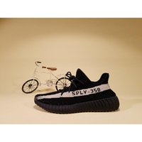 Wholesale Authentic Boost V2 Black With White Stripe Kanye West New SPLY Men Women Running Shoes Fashion Footwear sply350 Size8