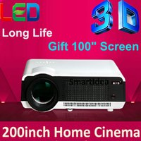 DLP Gaming Yes Wholesale- Cheapest !! 4000lumens HD LED Home Cinema Projector LCD 3D Video TV Proyector HDMI Digital Beamer Free Gift 100inch Screen