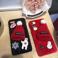apple black hat - korean plush Christmas red hat For iphone6 S Plus mobile phone Case hard shell protective Hard Case