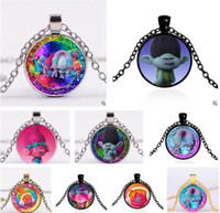 achat en gros de cadeau jewlery-Poppy Trolls Colliers DreamWorks Glass Jewlery Corps Chaîne Movie Cartoon Bijoux 114 Design Trolls Colliers pendentif pour le meilleur cadeau de Noël