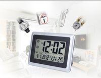 Alarm Clocks big digital display - Big LCD Thermometers Fashion Waterproof Shower Time Watch Digital Bathroom Kitchen Wall Clock Silver Big Indoor Temperature Display