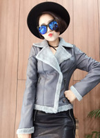 Wholesale Short Leather Jackets For Ladies - retail 2016 fashion womens clothing PU faux leather short tops ladies coats with velvet linning blouses for women winter jackets