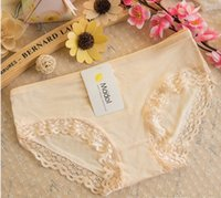 Wholesale Hot style lady modal variety of pure color lace panties bamboo fiber bigger sizes each package