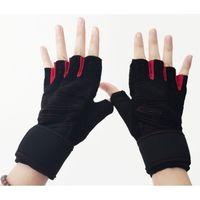 Running badminton fitness training - Semi Finger Gloves Gym Body Building Training Fitness Gloves Instrument Half Finger Gloves Weight Light Exercise Breathable Wrist Wrap