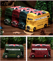 big money banks - Big Bus Resin Money Boxes Euro Style Double decker Vintage Retro Vehicle Model Cofre Coin Piggy Bank Saving Money Kids Gift