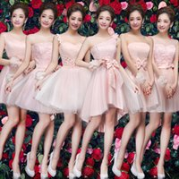Wholesale The new winter princess short pink birthday party bridesmaids dresses in stoct