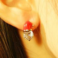 Wholesale Christmas new design earrings of women Santa Claus hat stud earrings gift The crystal
