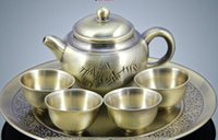 art reports - High quality goods pure copper bamboo report peaceful tea sets wine copper pot metal tea utensils gift