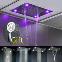 Wholesale Luxury Bathroom Large Ceiling light mm Waterfall multifunction Shower Head Faucet Rainfall Remote Control Colorful LED Shower Head