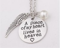 Pendant Necklaces angels heaven - New Arrival Antique silver A piece of my heart lives in heaven charm pendant necklace Angel wings necklace