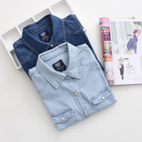Wholesale Autumn dress lapels Europe and the United States women s denim shirt worn double pocket women long sleeve shirts