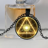 animal geometry - Gold Sacred Geometry Cabochon Glass Tibet Silver Chain Pendant Necklace