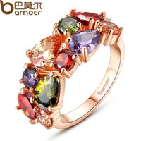 Wholesale BAMOER Unique Design Rose Gold Plated Mona Lisa Ring for Female Wedding with AAA Colorful Cubic Zircon Bijouterie JIR052