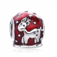 2016 estilo de invierno 925 de plata esterlina Sika ciervos encantos encantos se adapta a Europa serpiente pulsera regalo de Navidad cuentas rojas para joyería DIY