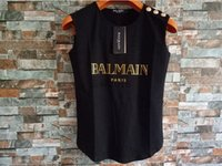 Wholesale 9 colour Balmain PARIS With GOLD LABEL Women s Tee Balmain Shirt Top T Shirt Cotton T shirt For Women