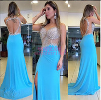 beaded splits skirt - 2017 Long Prom Pageant Dresses sheer neck Crystals Sky Blue y Plus Size Personalized Slit Skirt Evening open back Gowns grade prom