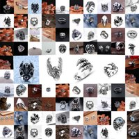 Wholesale Details about Men s Fashion Silver Stainless Steel Gothic Punk Charm Biker Finger Ring Jewelry