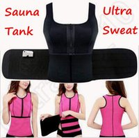 Wholesale 4 Colors Ultra Sweat Compression Neoprene Sauna Tank With Adjustable Waist Trimmer Shaper Neoprene Bodyshaper Trainer Belt CCA5272
